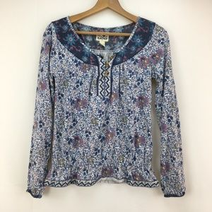 Lucky Brand Blue Purple Floral Long Sleeve Blouse